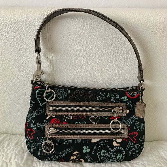 Coach Handbags - Coach POPPY Black, Red and Silver Purse